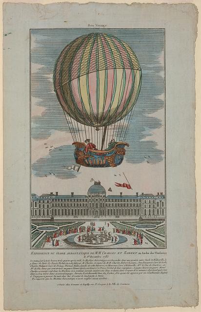 Experience du globe aerostatique du MM. Charles et Robert au Jardin des Thuileries le 1er decembre 1783