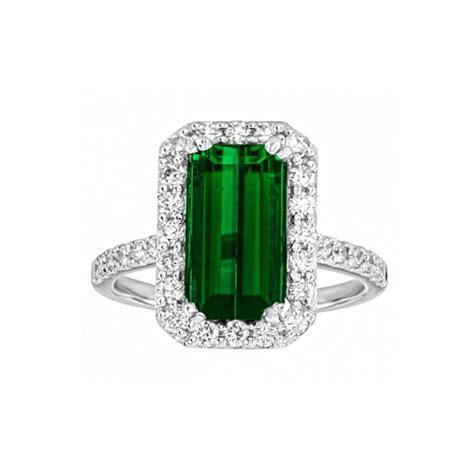 Emerald Cut Green Tourmaline and Diamond Ring