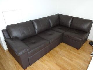 Fernando Leather Right Hand Sofa Bed Corner Group-Chocolate. in ...
