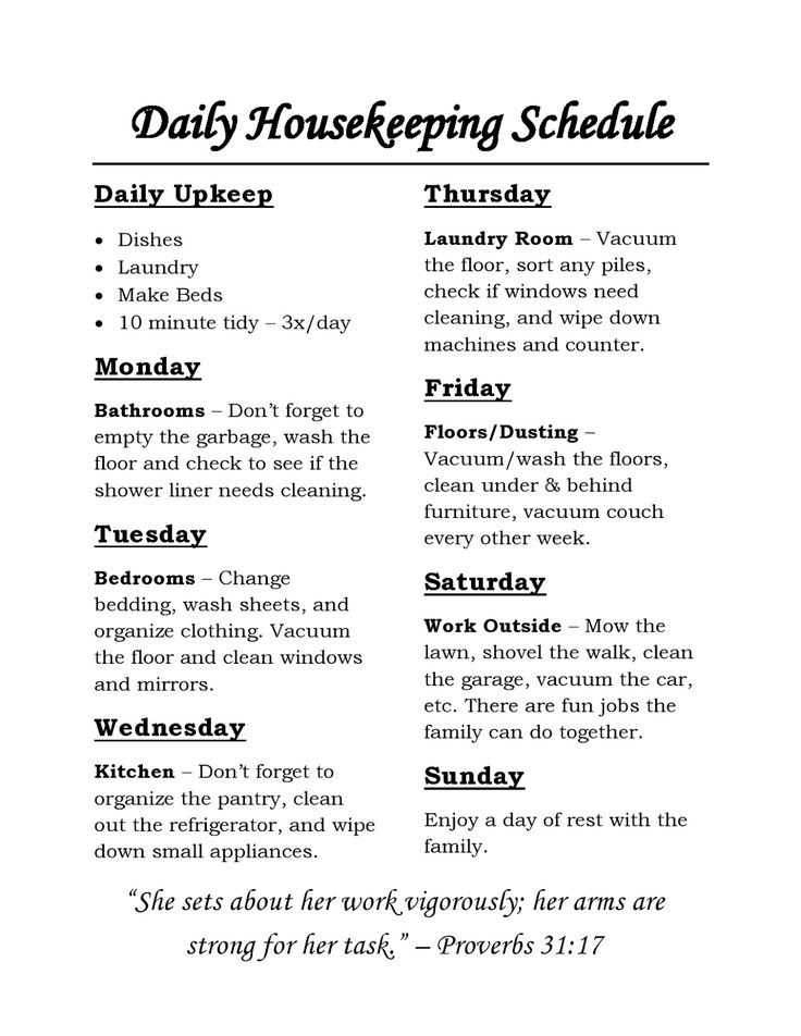 1000+ ideas about Housekeeping Schedule on Pinterest   Chore ...