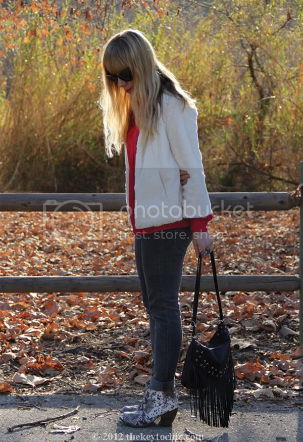 collarless faux fur jacket, Cheap Monday jeans, H&M fringe handbag, snakeskin ankle boots, Los Angeles fashion blogger, southern California fashion blog