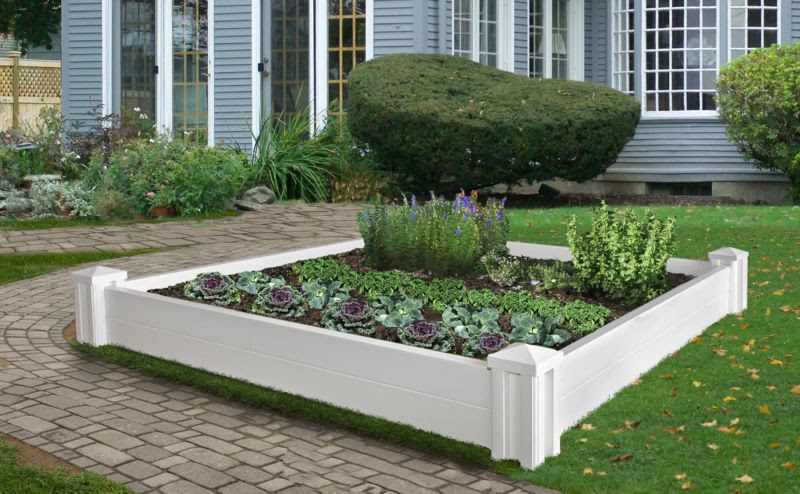 Versailles Vinyl Raised Garden Bed No Extension