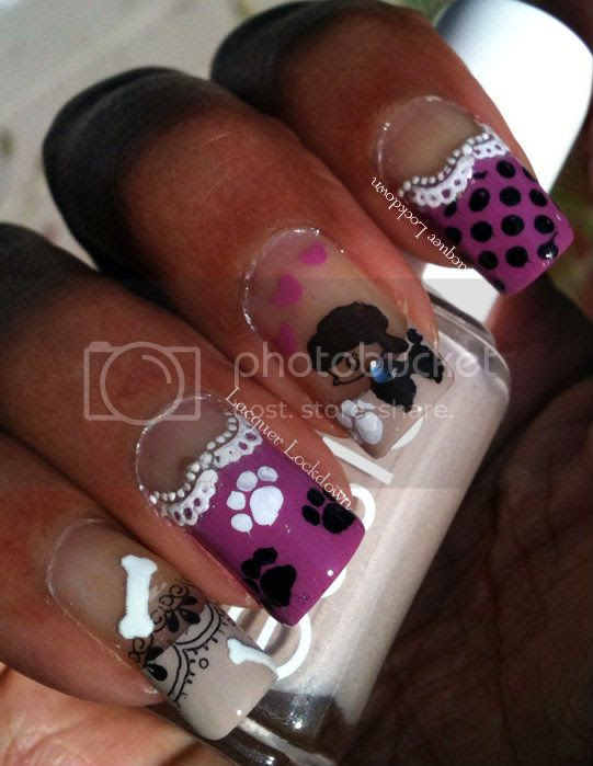 Lacquer Lockdown - poodles, konad, bundle monster, nailz craze, fauxnaud, NC01, BM19, KD11, RuiZ02, M57, lace, doggy bones, paw prints, essie sand tropez, barielle welcome ohm, adventures in stamping, stamping, nail art, french tips, nail art stickers