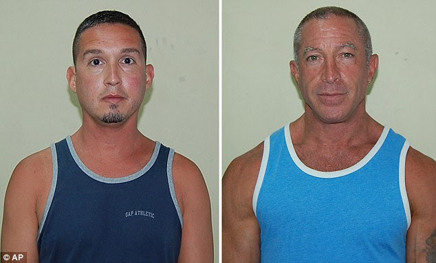 Gay cruise: John Hart, 41, left, and Dennis Jay Mayer, 43, both of Palm Springs, California, pleaded guilty to indecent exposure after they were caught having sex