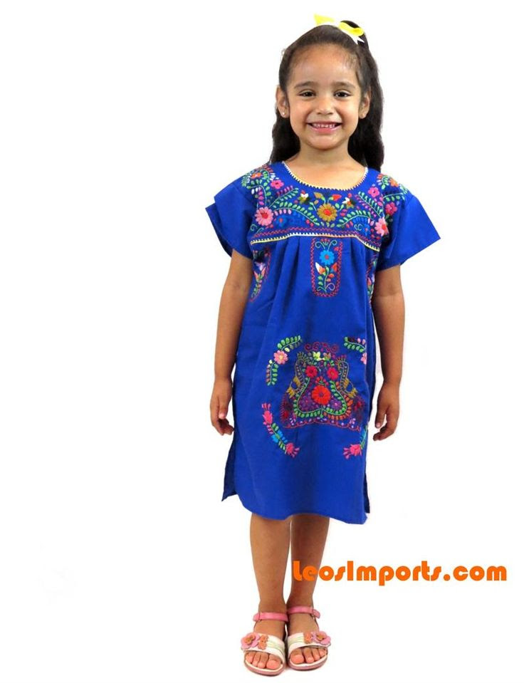 girls' embroidered mexican dress puebla  in threads