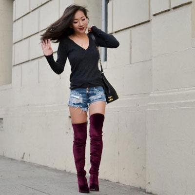 Bodycon dress knee high boots and shorts outfit zipper