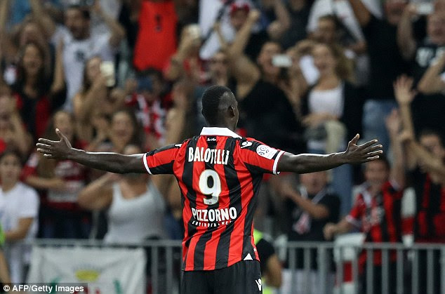 Mario Balotelli scored twice on his debut for French club Nice against Marseille