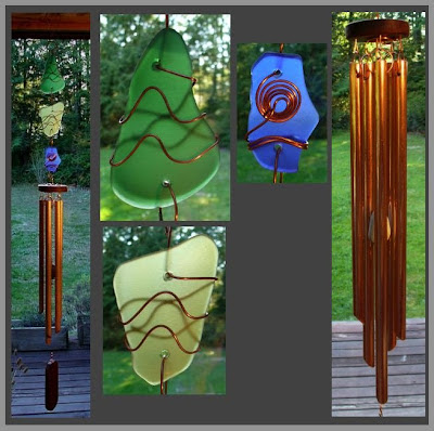 sea glass, beach glass, art windchime, wind chime, copper