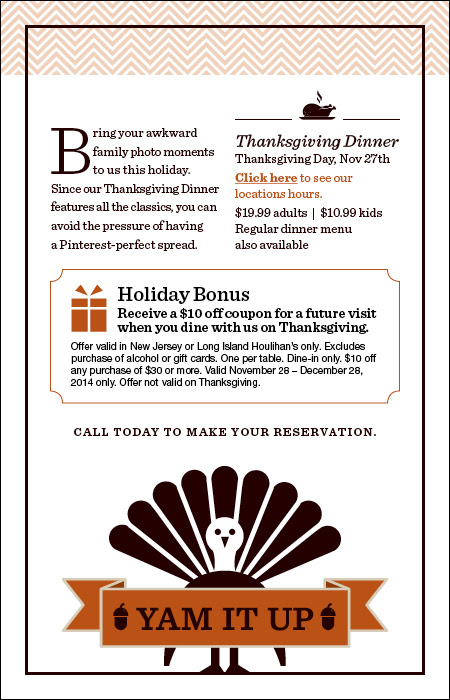 Join us for Thanksgiving. Make your reservation today.