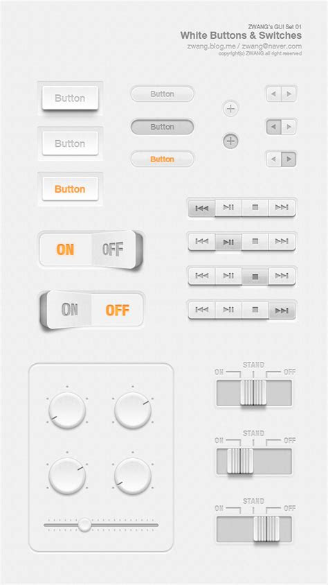 This is my first free GUI set - White Buttons & Switches.