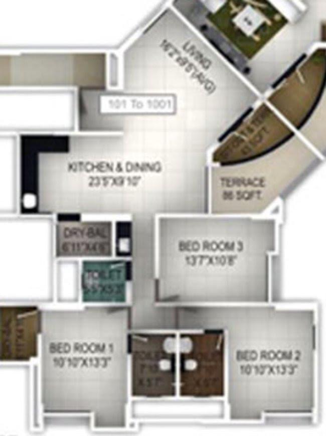 3 BHK Flat J Wing 1001 in Balwantpuram Samrajya - 1160 Carpet + 40 Terrace - for Rs. 1,07,65,600