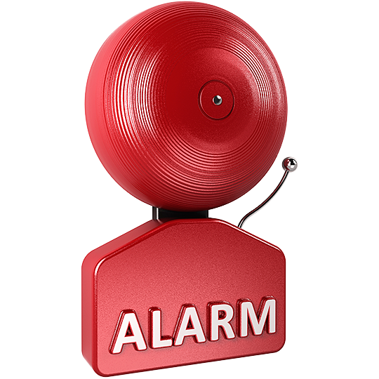 ID: a red bell with white text that reads alarm.