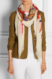 Guinnearae printed wool-gauze scarf