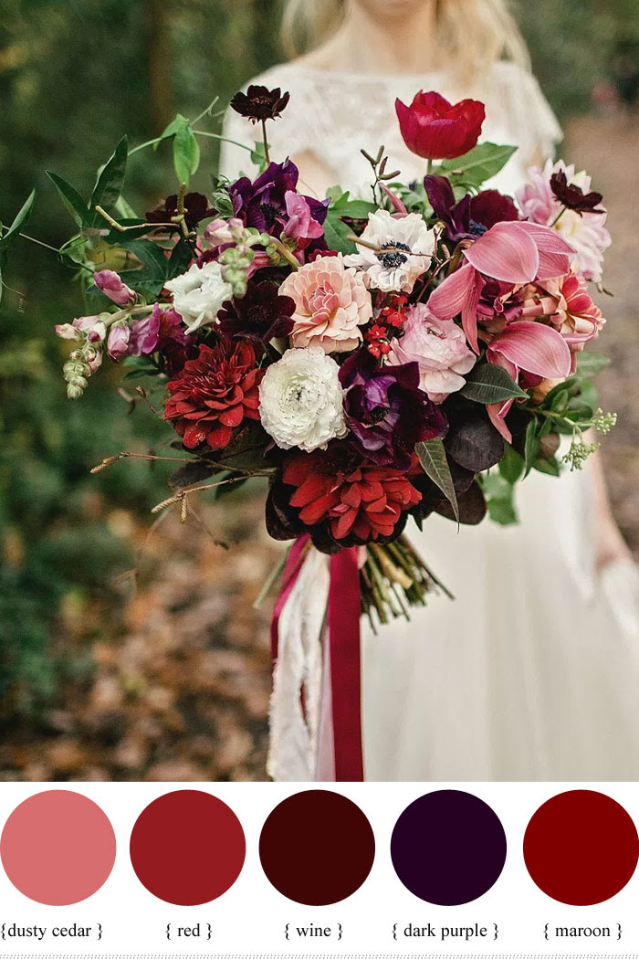 Purple Pink And Red Wedding Flowers Flowers Healthy