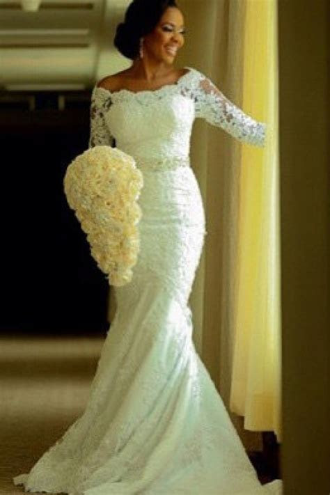 Vintage Long Sleeve Mermaid Lace Wedding Dress Crystal