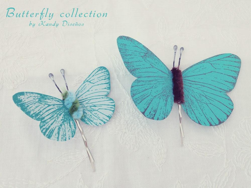 Butterflies hair pin set, Butterflies hair clip Bridal Bridesmaid hair. Butterfly hair accesory, Teal Blue chocolate pin, Butterfly Wedding - KandyDisenos