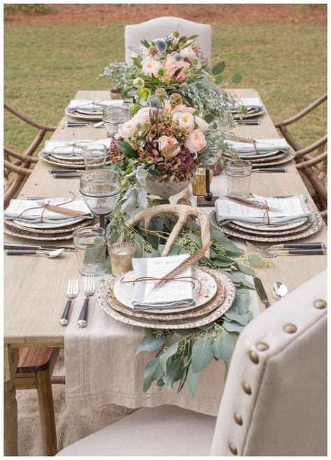 Rustic wedding reception inspiration with farm table