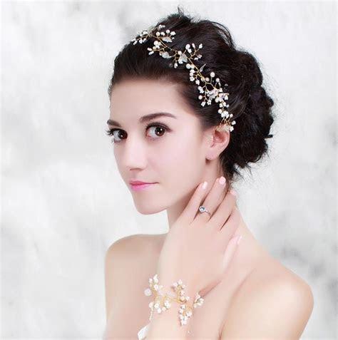 Pearl Crystal Gold Wedding Headband Hair Accessories