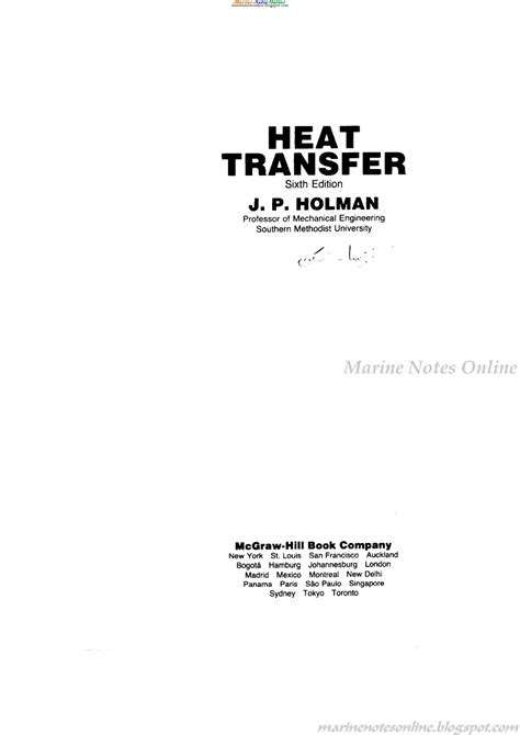Heat Transfer By J.P.Holman Sixth Edition ~ Marine Notes