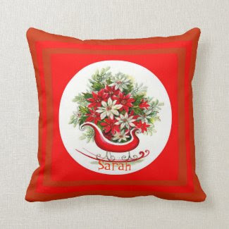Retro Red & Christmas Sleigh & Poinsettias Girly Pillows
