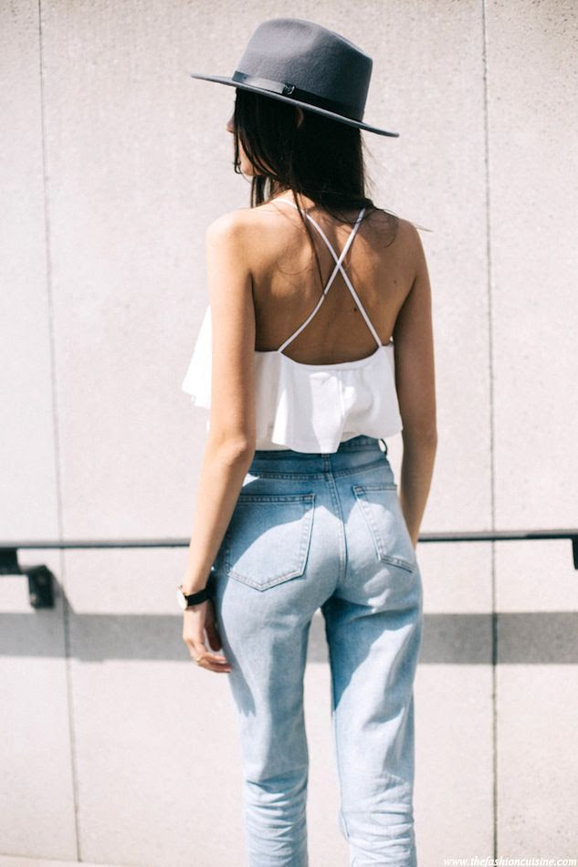 Le Fashion Blog Blogger LA Style Boho Hat Cross Back Strap White Ruffle Cami Top High Waisted Vintage Denim Via The Fashion Cuisine
