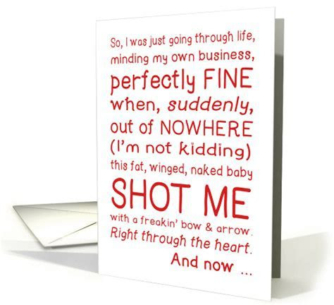 Funny Valentine's Day card, cupid shot me, typography love