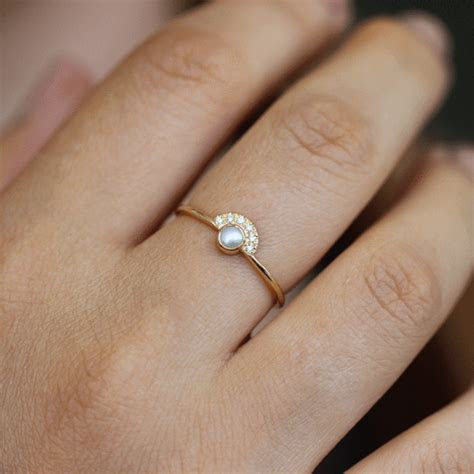 Pearl Engagement Ring with Half Diamond Halo ? ARTEMER