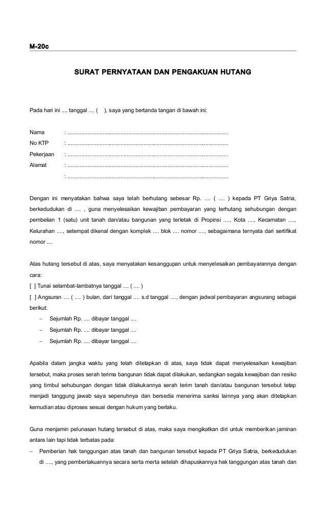 Contoh Surat Pernyataan Kesanggupan Membayar Hutang Dengan Jaminan Contoh Surat