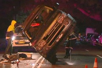Jodhi Meares' Range Rover is righted.
