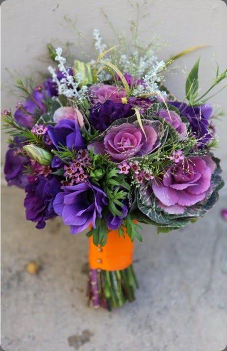 lila, Lavendel, mauve und grün bouquet mit einem orange-Vorbau-wrap