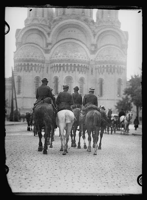<em>Polish cavalry in Warsaw. A Polish cavalry troop before the Russian church in Warsaw. Polish cavalry has for several hundred years been among the best in Europe. It has figured prominently in the fighting to save Poland from the Russians</em>. Photo from American National Red Cross Collection, 14 September 1920. //hdl.loc.gov/loc.pnp/anrc.12439