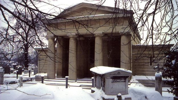 West Norwood Cemetery chapel covered in snow