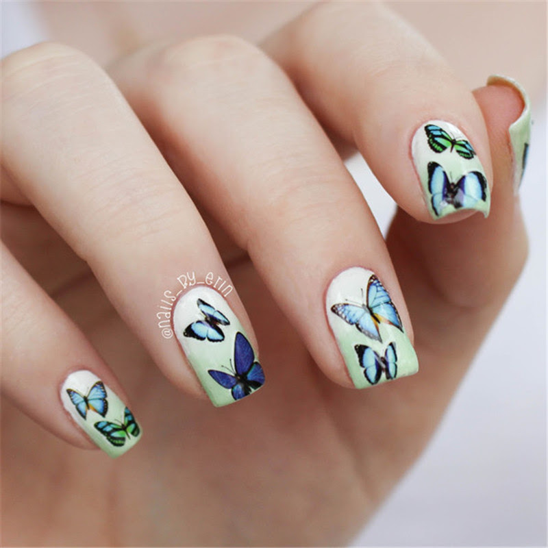 Blue Wings Butterfly Design Print Nail Art Water Decals ...