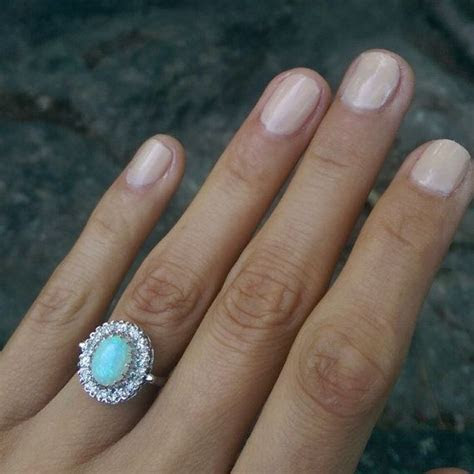 Vintage Romany 14K White Gold Opal and Diamond Halo Ring
