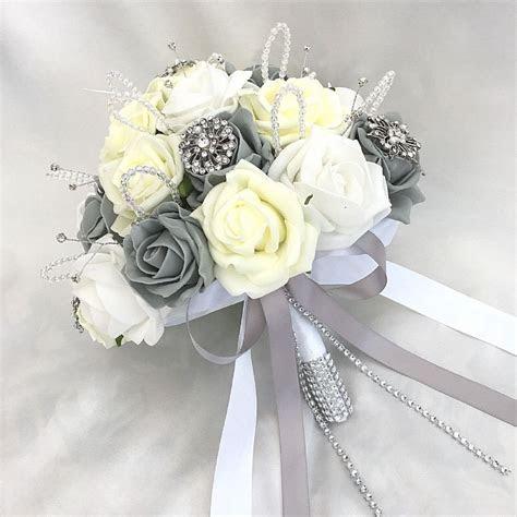 BRIDES POSY BOUQUET LEMON WHITE & GREY ROSES ARTIFICIAL
