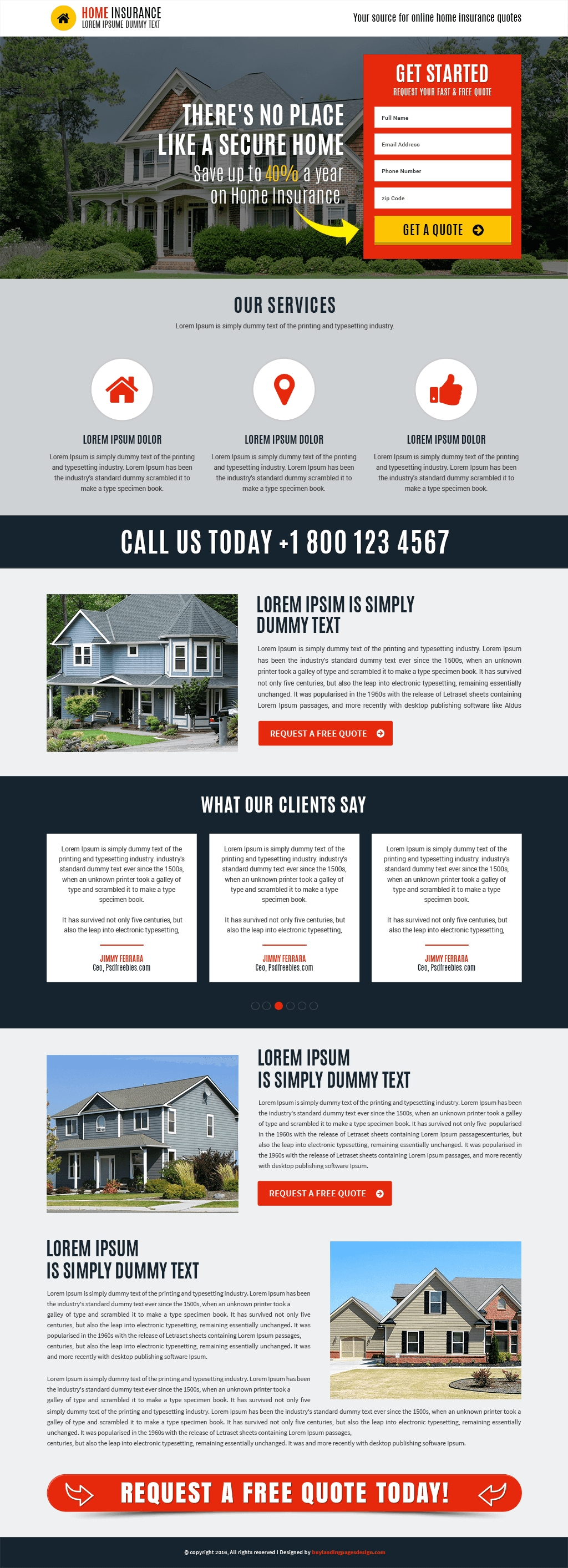 Best Responsive Home Insurance Template Buy Landing Pages Design
