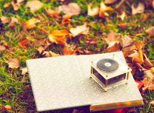 music, book, leaves, fall, autumn, gabriellekaiphotography, beautiful, nature, green