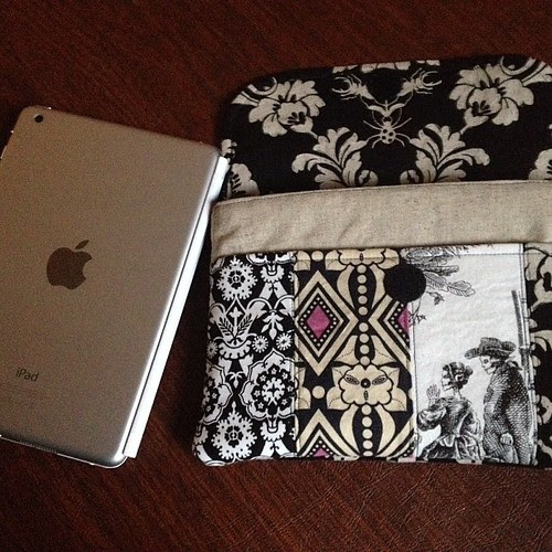 A little fabric love for my work life: made a clutch/sleeve for my new iPad mini, pattern by schoolhouse patterns on etsy.