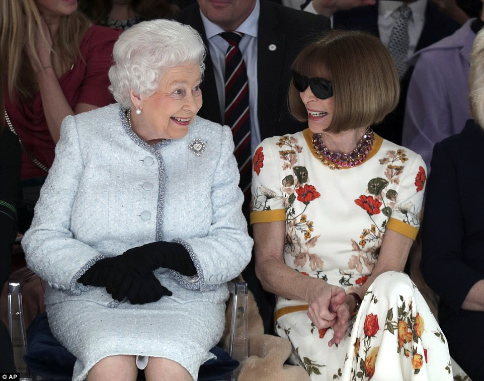The royal could be seen chatting animatedly to Vogue editor Anna Wintour, who raised eyebrows by keeping her shades on