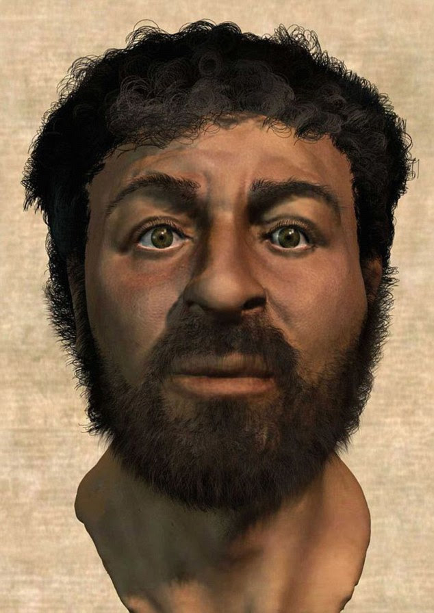 Retired medical artist Richard Neave has recreated the face of Jesus (pictured), using forensic techniques. The portrait shows the Son of God with a wide face, hazel eyes, a bushy beard and short curly hair, as well as a tanned complexion. This is in contrast to the typical blonde and blue-eyed images seen in the West
