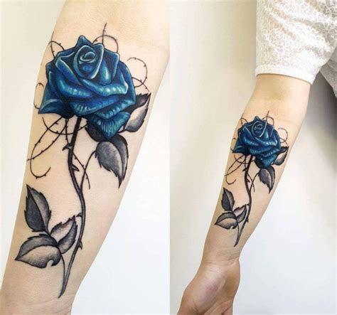 small meaningful wrist tattoo ideas blue rose