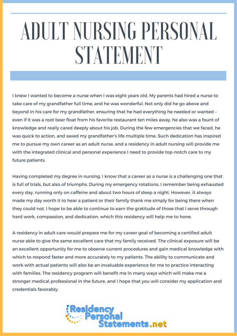 adult nursing personal statement