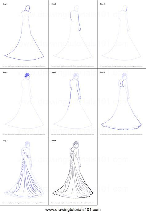 How to Draw a Bridal Gown printable step by step drawing