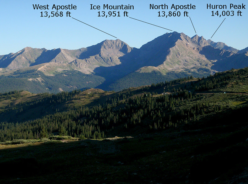 The Three Apostles, with Huron in the background, catching early sun .  The pic is taken from just below Cottonwood Pass, on the west side.