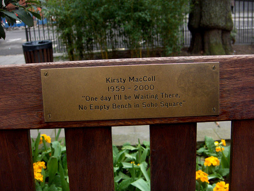 Kirsty MacColl's bench in Soho Square