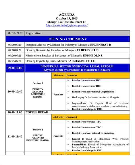Ceremony Agenda Templates   9  Free Word, PDF Format
