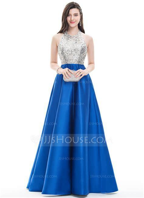 A Line/Princess Halter Floor Length Satin Prom Dresses