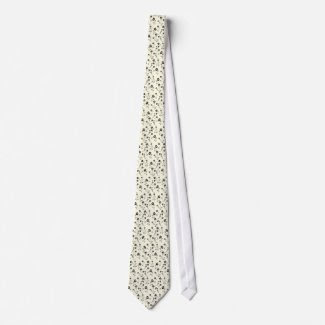Tie with white background and tiny black flowers tie