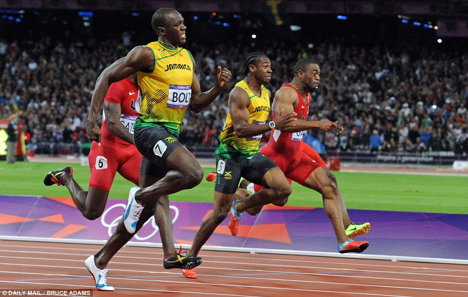 Effort: The world's fastest men - Usain Bolt (second left), Justin Gatlin (left), Yohan Blake (second right) and Tyson Gay (right) - strive to reach the line first