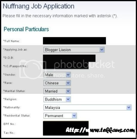 Application For Nuffnang Blogger Relations